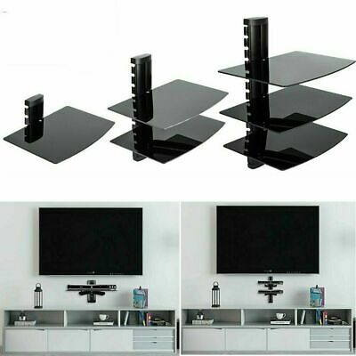 Floating Glass Shelves 1-3 Tier For Sky Box PS4 Xbox Black TV Wall Mount Bracket