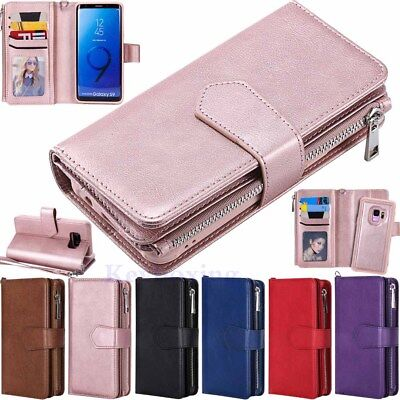 Magnetic Removable Zipper Leather Wallet Case Cover Fr Samsung Note 9 S9 S8 Plus