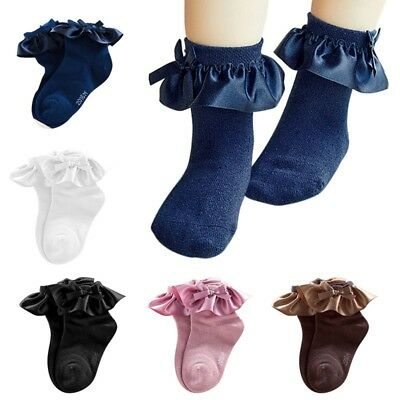 Toddler Baby Girl Ruffle Frilly Lace Bow Ankle Socks Infant Princess Tutu Socks