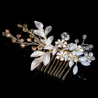 Bridal Wedding Hairpin Hair Comb Clip Floral Head Piece Crystal Flower Headdress