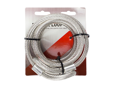 Security Double Loop Cable Strong Braided Steel For Bike 12mm x 2 m Chain Lock