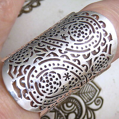 The PAISLEY FINGER Size US 9.25 Wide SilverSari JALI Ring Solid 925 Stg Silver