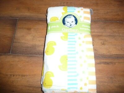 NEW NWT GERBER Baby Boy or girl Flannel Burpcloths 4 Pack ducks/stars/stripes