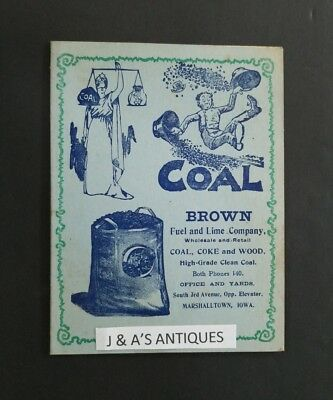 1905 Advertisement & Calendar ~ Brown Fuel Lime Company ~Coal ~ Marshalltown, IA