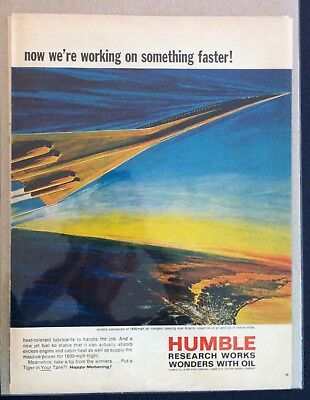 1960's Humble Gas & Oil  Research SST ad print gift Ford Chevy Olds Dodge GTO