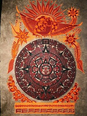 Mexican Amate Painting Latin Ethnic Art Wall Hanging Home Decor Aztec Calendar