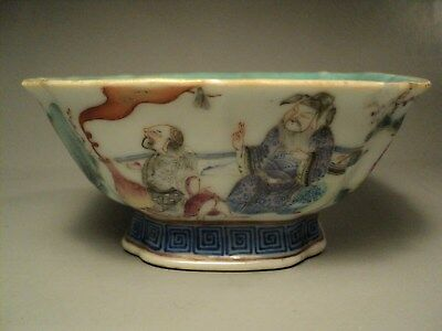 Coupe Porcelaine Chine Dignitaires Famille Rose Chinese Tonghzi Marks Ceramic