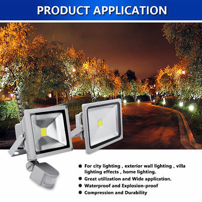 New LED Floodlight 10W 20W 30W 40W 50W  Outdoor Garden Security PIR Option