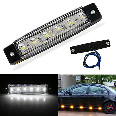 Universal White 6 LED Side Marker Clearance Indicator Light Amber Truck Trailer