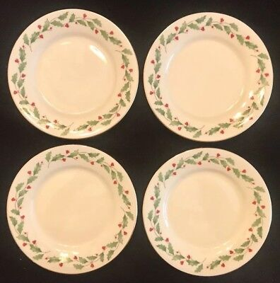 """LENOX HOLIDAY Dimension Gold SET OF 4 DESSERT PLATES 6"""" Holly Berry Perfect !"""