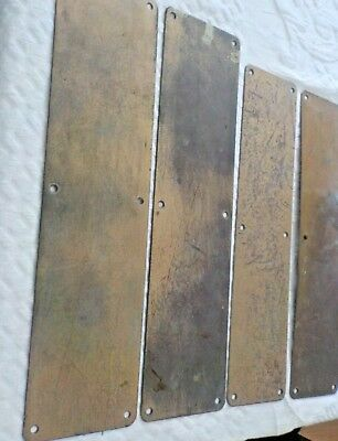 Lot of 4 Vintage Heavy Brass Door Push Plates