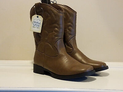 Faded Glory Boys Cowboy Boots Brown * Size 5 * NEW * No Box