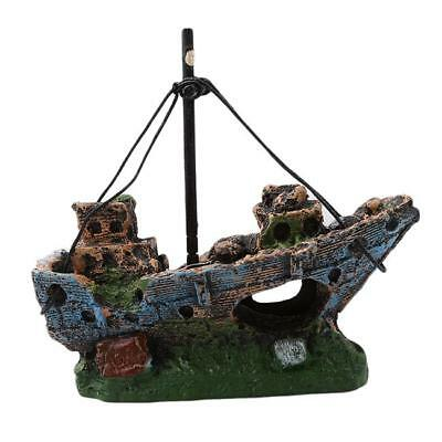 Aquarium Ornament Wreck Sailing Boat Sunk Ship Destroyer Fish Tank Cave Decor SO