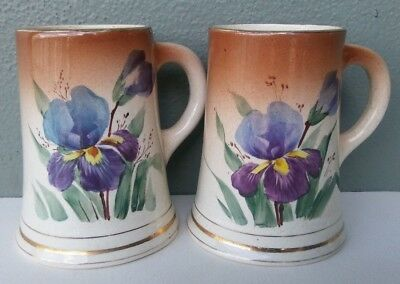 Pair Of Antique American Art Pottery Mugs - Hand Painted Orchids