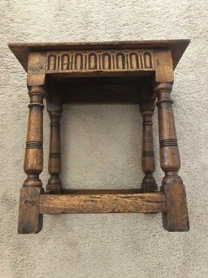 Rare Antique Oak Joint Stool ~ Hand Carved  ~