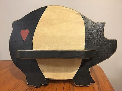 Primitive Country Handmade Wooden Black & White PIG Wall Hanging w/ Shelf
