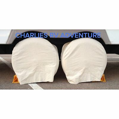 Set Of 2 NEW CANVAS TIRE COVERS Rv, Camper, Car, Truck, Motorhome.