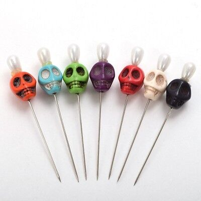7pcs Skull Head Pattern Pins Evil Voodoo Curse Needles Voodoo Doll Accessory