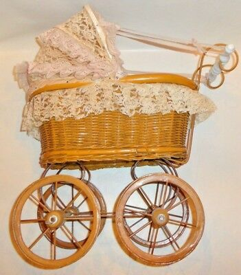 Vintage Lace Cover And Wicker Rattan With Wood & Metal Baby Doll Stroller Buggy