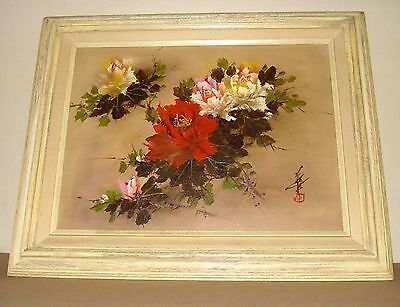 Elegant Hand Painted Framed Asian Signed Floral oil Painting on canvas