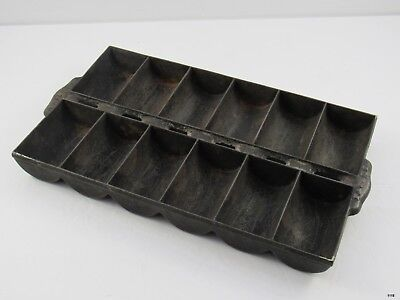 Antique Cast Iron French Loaf Roll Corn Bread Pan : 12 Slots : Marked Patent Pen