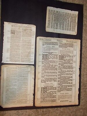Set of 4 Very Early 1611-1613-KJV  Bible Leaves-1st Editions-He Bible Leaf