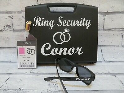 Ring Security Box + sunglasses + badge, Ring security set, wedding ring box, set