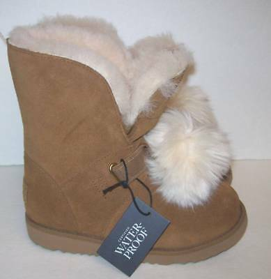 a079d75c761 UGG GIRLS ISLEY Chestnut Waterproof Boot with Detachable Fluff Ball ...