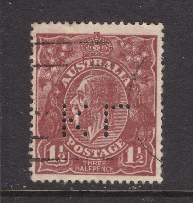 "PERFIN: ""KL"" FROM THE BACK INVERTED ON 1 1/2d BROWN KGV SINGLE WMK VERY FINE."