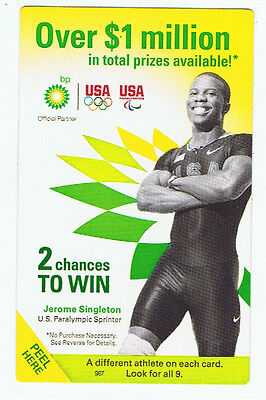 BP Oil TeamUSA Contest Advertising Game Card Olympic Paralympic Jerome Singleton