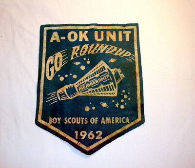 "Vintage Boy Scouts of America Patch... 1962 Go Roundup Space Capsule.. BIG 8.5""!"