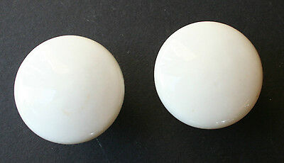 Vintage White Porcelain Door Knobs Drawer Pulls SET OF TWO EXC!