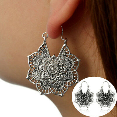 Vintage Antique Silver Gypsy Indian Tribal Ethnic Hoop Dangle Mandala Earrings