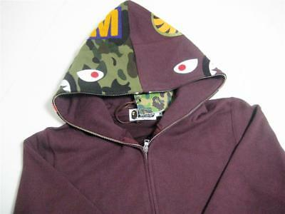 090c1e454bf3 A BATHING APE SHARK FULL ZIP HOODIE wgm burgundy camo bape 18fw brand new