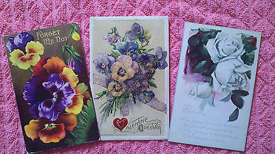 REDUCED Antique Postcard Lot Valentines Day Birthday Floral 1912-17 Divided Back