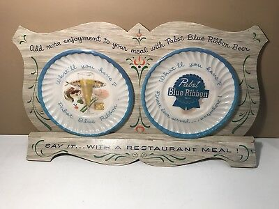 Rare Vintage 1950's Store Display Pabst Blue Ribbon Advertising Plate 1955