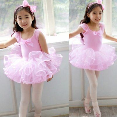Girls Gymnastics Ballet Dress Toddler Kids Leotard Tutu Skirt Dance Swan Costume