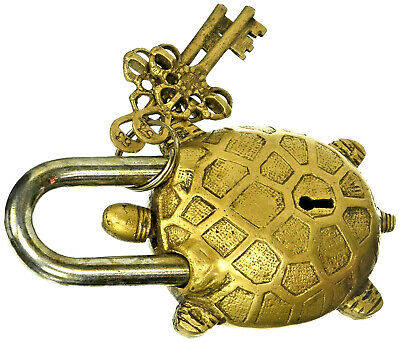 Turtle Tortoise Shape Vintage Antique Style Handmade Brass Lock Padlock & Keys