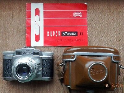 MINTY BRAUN SUPER PAXETTE II 35mm FILM CAMERA WITH MINTY CASE AND INSTRUCTIONS