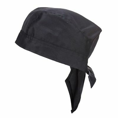 PORTWEST S903 black durable chefs kitchen catering food two ties cap hat bandana
