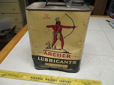VTG Archer Lubricants 2 Gallon 2 Cycle Engine Outboard Motor Oil Gas Can Tin