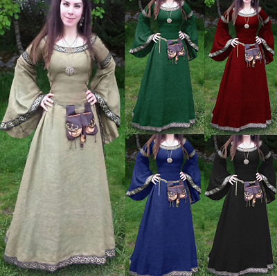Women Vintage Medieval Costume Trumpet Sleeve High Waist Dress Cosplay Outfit AU