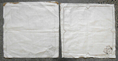 Four vintage floral traced linen napkins for cutwork embroidery to complete