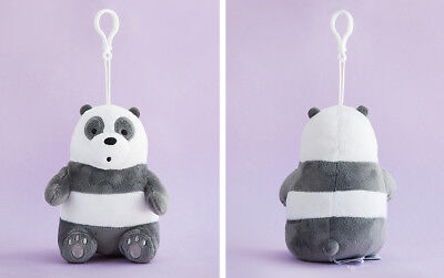 We Bare Bears Panda Sitting Dolls Plush Toy Bag Ring Hook Accessories Key Chain