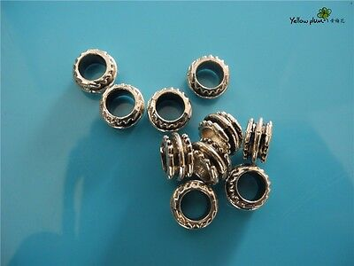 10 PCs Tibetan Carved Silver Metal Beads Set - Dreadlock Beads dread beads A12