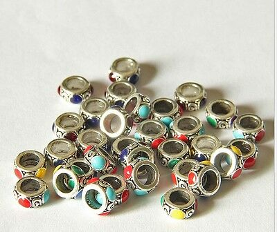 10 PCs Tibetan Carved cloisonne Beads - Dreadlock Beads dread beads 5mm hole