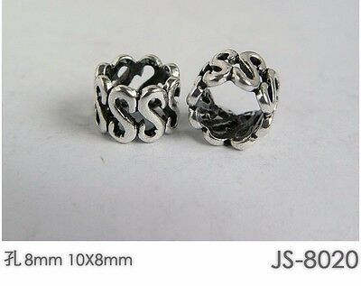 10 PCs Tibetan Silver Metal Beads Set Dreadlock Beads dread beads 8mm hole B05