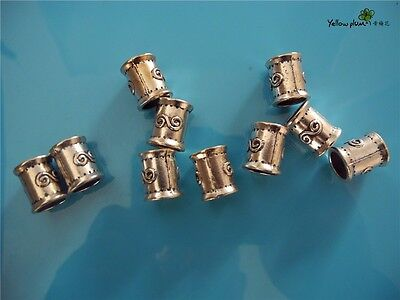 10 PCs Tibetan Carved Silver Metal Beads Set - Dreadlock Beads dread beads A03