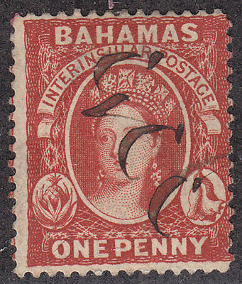BAHAMAS Used Scott # 16 or 20 Queen Victoria Perf 14 - pen/pencil writing (1 S)1