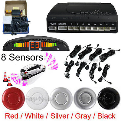Car Parking Front&Rear Reverse 8 Sensors Buzzer Radar LED Display Alarm System